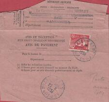 GANDON - AVIS DE RECEPTION - INDOCHINE - AVISO ANNAMITE -POSTE AUX ARMEES 414
