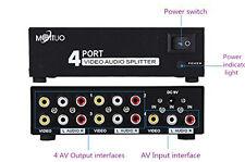 New 1 In 4 Out 3 RCA AV Audio Video TV DVD Splitter Switch