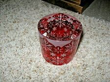 PartyLite Winter Lace Votive Holder ~ Red w/ Snowflakes P91127 Nib