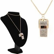 Trendy Hot Rhinestone For Ladies Girls Gold Pendant Necklace Whistle Jewelry