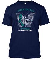 I Wear Teal For Ptsd - Awareness Strength Fight Hero Hanes Tagless Tee T-Shirt