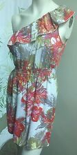 Tropical Summer Multi-Color Floral Print Dress Top One Cold Shoulder Size M AUW