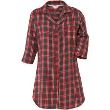 Cameo Woven Flannel Check 3/4 Sleeve Women's Nightshirt Button Through Red Grey 18