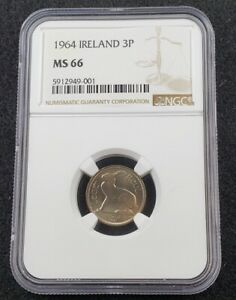 1964 Ireland 3d Three Pence Eire Leat Ruel NGC MS66 Gem