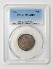 1835 1/2C Classic Head. PCGS MS62BN. Beautiful Coin