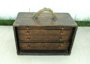 ANTIQUE Wood Machinist Tool Box Felt Lined WOODEN Chest ☆ USA