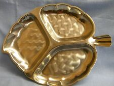 Vintage 1970's Stainless Steel PEARL LEAF 3-section SERVING TRAY w/ Box