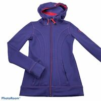 Kuhl Womens Jacket Purple Red Stitching Zip Up Hooded Front Pockets Fleece XS