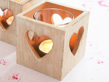 HEART ANTIQUE SHABBY CHIC WHITE WASHED SQUARE  WOODEN VOTIVE TEA LIGHT CHRISTMAS