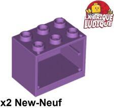 Lego - 2x Container coffre box cupboard 2x3x2 lavande medium lavender 4532 NEUF