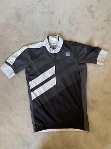 Sportful mens short sleeve cycling jersey black/ grey white - large