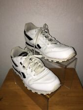 Mens Reebok Classic White Trainers With Black Strips UK Size 5
