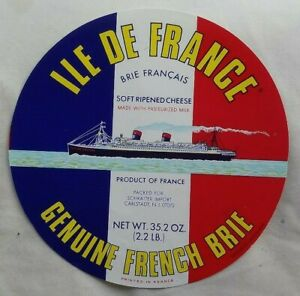 FRANCE 1950s LARGE BRIE CHEESE LABEL CELEBRATING THE PAQUEBOT ILE DE FRANCE