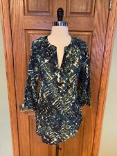 516a2e333d Beach Lunch Lounge Tunic Shirt M Blouse Soft Viscose Top 3/4 Sleeve