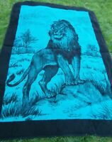 Vintage San Marcos Teal & Black Majestic Lion Reversible Blanket 86x60 inches