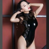 Lady Metallic Wet Look Bodysuit Leotard Mock Neck Charm Catsuit One Piece Bikini