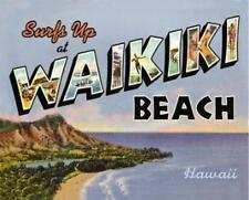 Surf's Up at WAIKIKI BEACH Hawaii Tin Sign BRAND NEW Metal TRAVEL Summer RETRO