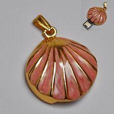 USB Stick 4 GB Muschel Schmuck Anhänger Kette Rosa gold -farbig
