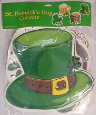 """St Patricks Day Die Cut Out 4 Decorations 16"""" Beer Shamrock Hat Pot Gold Beistle"""