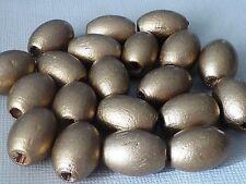 20 Holzperlen oval gold matt 17mm 1427