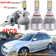 For Mazda Protege 5 2003-2002 Front H7 9005 HB3 LED Headlight Bulbs Kits