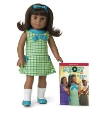 "American Girl 18"" MELODY Doll with Book, New In Box , Dark Skin Black Hair"