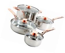 Stainless Steel 8 Piece Cookware Set Non Stick Pots Pans Kitchen Silver/Copper