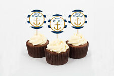 Nautical Gold Anchor Printable Cupcake Toppers Party Favor Tags