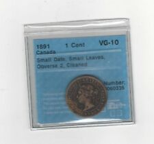 **1891 SD/SL Obv#2**, CCCS Graded Canadian, Large One Cent, **VG-10 Cleaned**