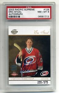 ERIC STAAL 2003-04 PACIFIC SUPREME AUTO ROOKIE RC #109 PSA NM-MT 8 255/375 MADE
