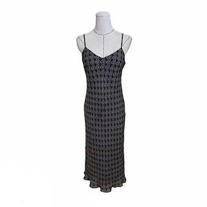 Vintage 90s Y2K Ann Taylor Silk Print Slip Dress Carrie Bradshaw Rachel Green S