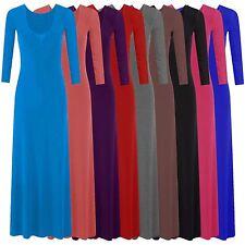 New Ladies Long Sleeve Full Length Jersey Maxi Dress 8-14