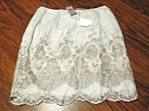 ANN TAYLOR REFLECTION SKIRT embroidered eyelet silver pearly foil skirt 0 P 1E