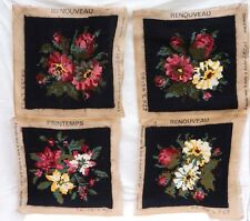 Set of 4 Hande Made Wool Tapestry Needlepoint Flowers Cover Pillows France