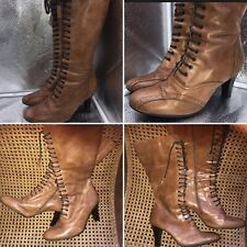 Clarks Millie Size 41 7 Long Brown Leather Victorian Boots Goth SteamPunk