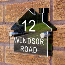 Personalised Custom House Shaped Number / Name Road Plaques Acrylic Door Sign
