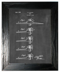 Cymbal Patent Print Chalkboard in a Black Pine Frame
