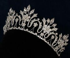 Silver Rhinestone Marquise Royal Prom Sweet 15 16 Quinceanera Tiara Crown