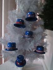 6 Pcs. Assorted Patriotic Glitter Hat Ornaments, July 4th, New