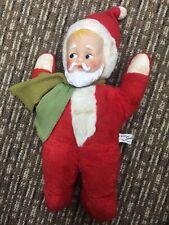 "VTG 1955 Knickerbocker 13"" Baby Santa with Green Scarf Plush Doll Rubber Face"