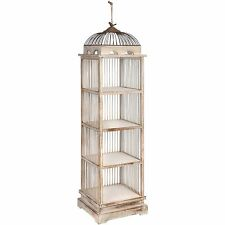 Large Dome-shaped Bird Cage 4-tier Open Display Shelving Unit in Antique White