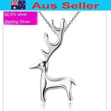 Fashion Sliver 925 Sterling silver Deer pendant necklace coated W/Rhodium