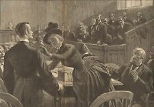 Courtroom Drama, Judge, Lawyer, Not Guilty by Thulstrup, 1888 Antique Art Print