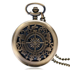 Girl Gift Alice In Wonderland Quartz Pocket Watch Rabbit Hollow Bronze Steampunk
