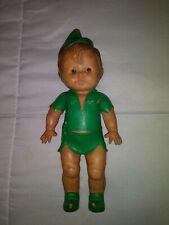 Vintage Sun Rubber Co Squeaker Toy Doll Peter Pan Walt Disney Rare Green Shoes