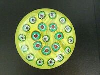 Large Vintage Gentile Art Glass Millefiori YELLOW Paperweight