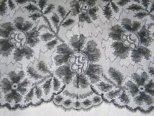 "Exquisite Antique Victorian French Chantilly Lace Shawl~Mantilla Silk-12""x50"""