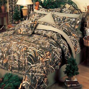 Realtree Max-4 HD Queen 8pc Comforter Set w/shams Goose Grass Camo Tan Rust Gray