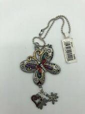 Butterfly Car Charm Mirror Hanging Pewter Acrylic Large w Dangle heart dragonfly