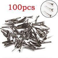 100PCS Small Medium Lot Silver Crocodile Alligator Bow Blank Hair Clips Pinch